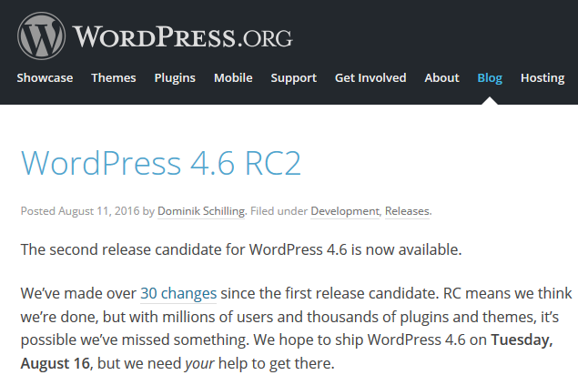 wordpress 4.6 rc2